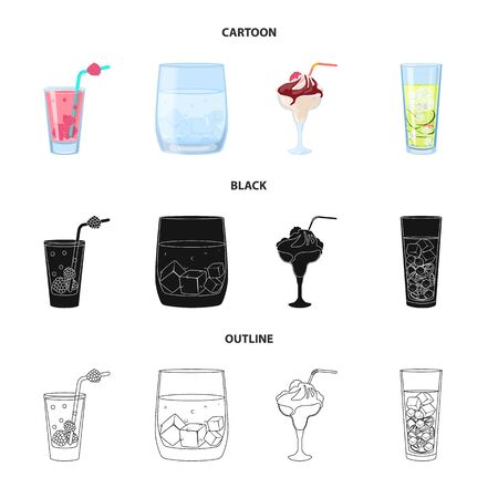 Vector illustration of liquor and restaurant icon. Collection of liquor and ingredient stock symbol for web.