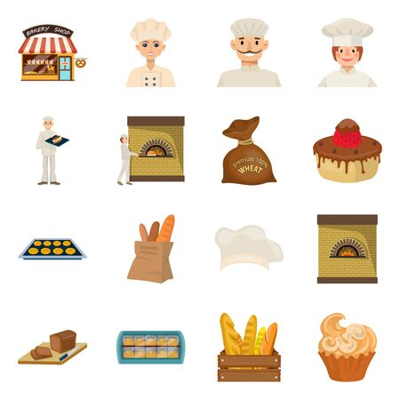 Isolated object of bakery and natural sign. Collection of bakery and utensils stock vector illustration. Иллюстрация