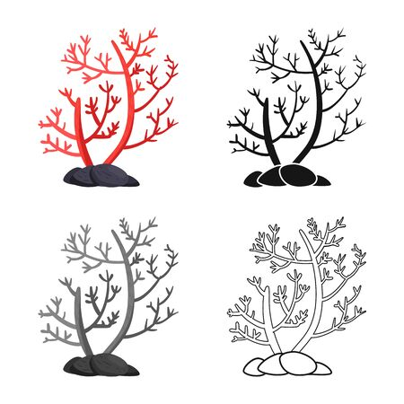 Vector illustration of algae and floral symbol. Set of algae and tropical stock vector illustration.