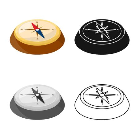 Isolated object of compass and north icon. Collection of compass and arrow stock symbol for web.