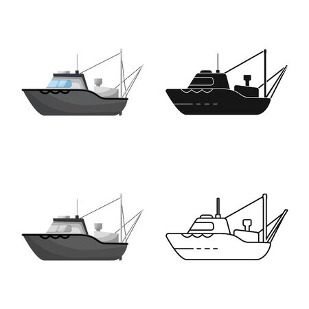 Vector design of ship and fishery symbol. Set of ship and vessel vector icon for stock.