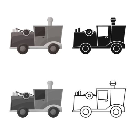 Vector illustration of car and old sign. Web element of car and model vector icon for stock. 向量圖像