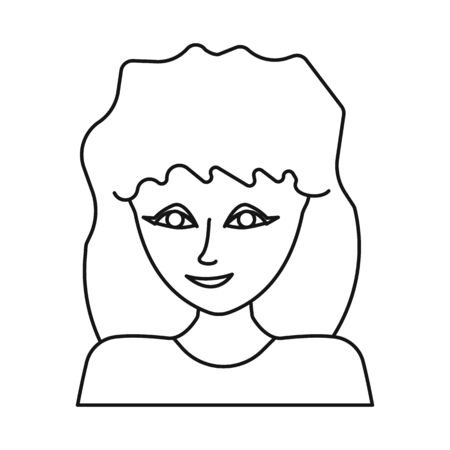Isolated object of girl and face logo. Collection of girl and teenager vector icon for stock.