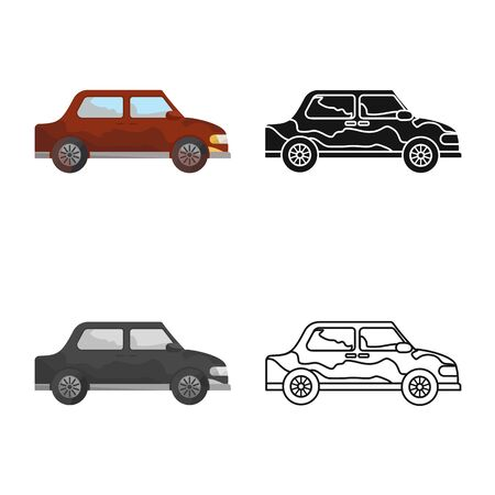 Vector design of car and vehicle sign. Set of car and clean stock vector illustration. Illustration