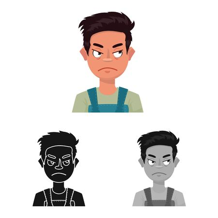 Vector illustration of guy and emotion sign. Set of guy and features stock vector illustration.