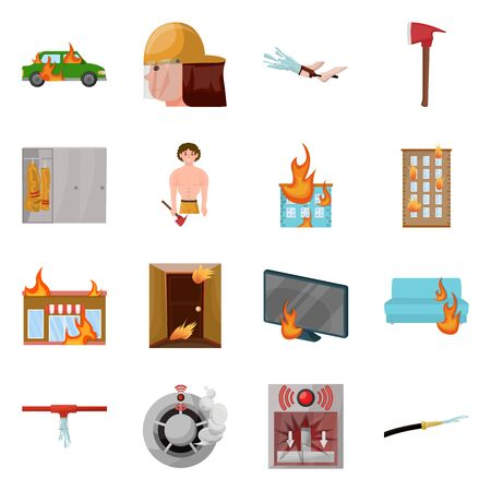Isolated object of firefighters and fire. Collection of firefighters and equipment vector icon for stock. Reklamní fotografie - 130151682