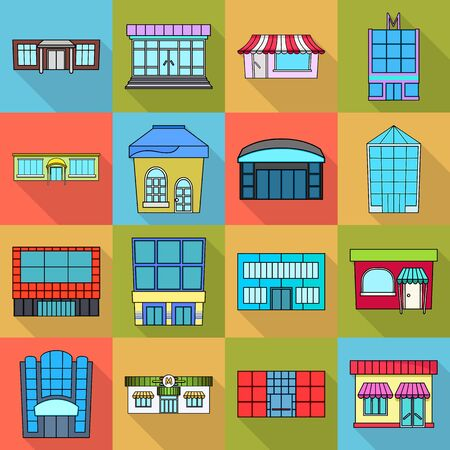 Isolated object of supermarket and building. Collection of supermarket and local stock symbol for web. Ilustração