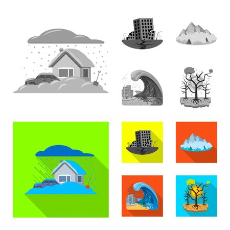 Isolated object of natural and disaster logo. Set of natural and risk vector icon for stock. Illustration