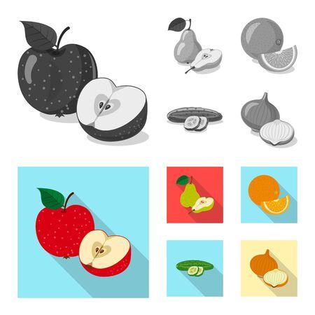 Vector design of vegetable and fruit symbol. Collection of vegetable and vegetarian stock vector illustration.