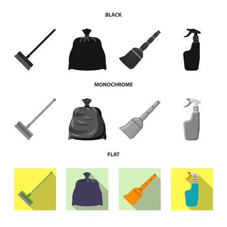 Isolated object of cleaning and service sign. Set of cleaning and household vector icon for stock. Иллюстрация