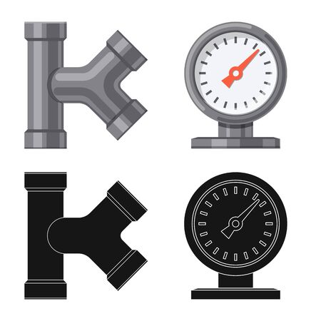 Vector illustration of pipe and tube symbol. Set of pipe and pipeline vector icon for stock. Stock Illustratie