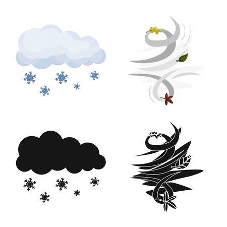 Vector illustration of weather and climate icon. Collection of weather and cloud vector icon for stock. Ilustração
