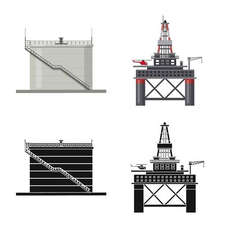 Vector illustration of oil and gas icon. Set of oil and petrol stock vector illustration. Çizim