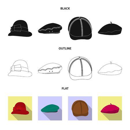 Vector illustration of headgear and cap symbol. Set of headgear and accessory stock symbol for web.