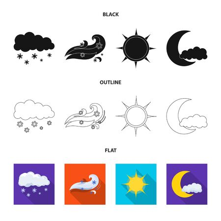 Isolated object of weather and climate icon. Set of weather and cloud vector icon for stock.