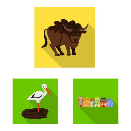 Isolated object of traditional and tour symbol. Set of traditional and landmarks vector icon for stock. Illusztráció