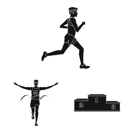 Vector design of health and fitness icon. Collection of health and sprint vector icon for stock.