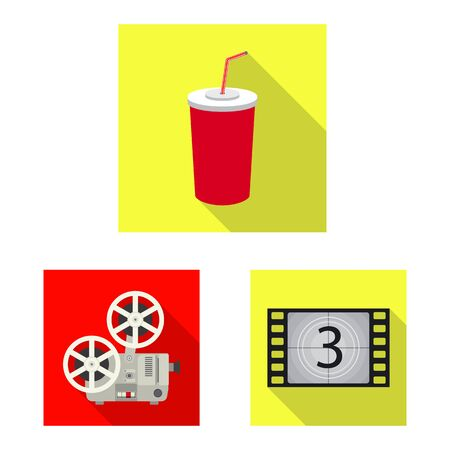 Vector illustration of television and filming sign. Set of television and viewing stock symbol for web.