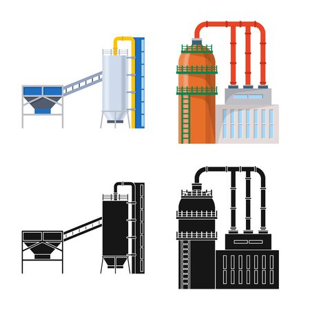 Vector illustration of production and structure logo. Collection of production and technology stock vector illustration.