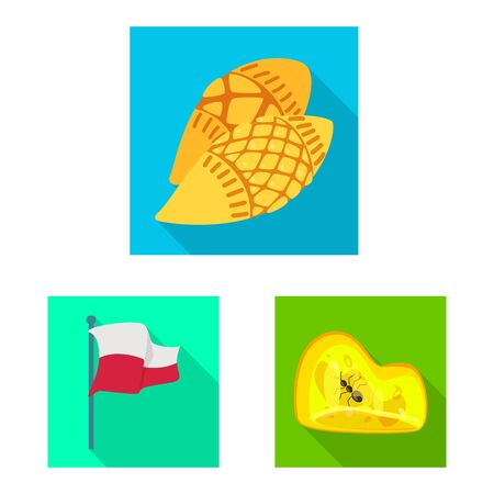 Vector design of traditional and tour icon. Set of traditional and landmarks stock vector illustration. Çizim