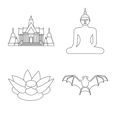 Vector design of landmark and culture symbol. Set of landmark and tourism vector icon for stock. Çizim