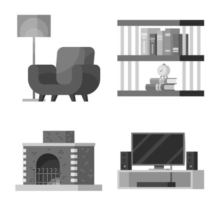 Vector design of room and style sign. Set of room and equipment stock symbol for web.