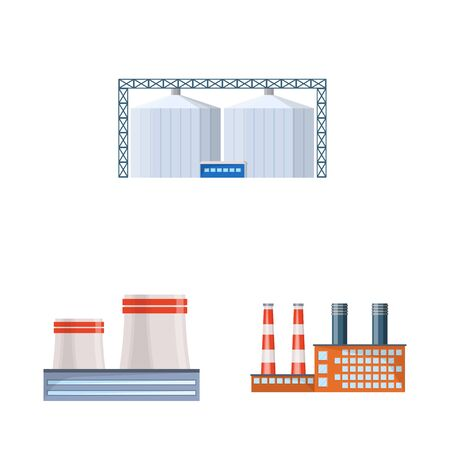 Vector design of industry and building symbol. Set of industry and construction vector icon for stock.