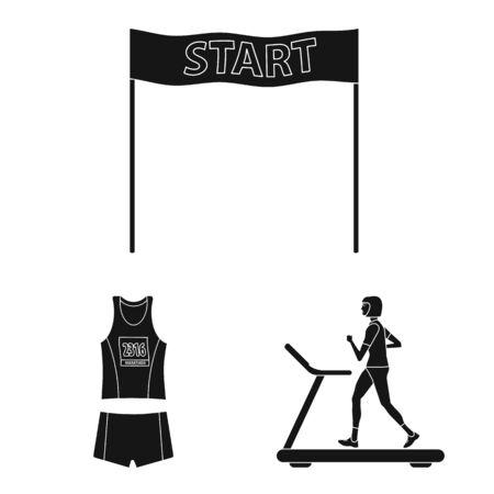 Vector illustration of health and fitness icon. Set of health and sprint stock vector illustration. Иллюстрация