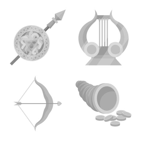 Isolated object of ancient and culture icon. Collection of ancient and antique stock symbol for web.