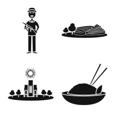 Isolated object of travel and country icon. Set of travel and national stock vector illustration. Ilustração Vetorial