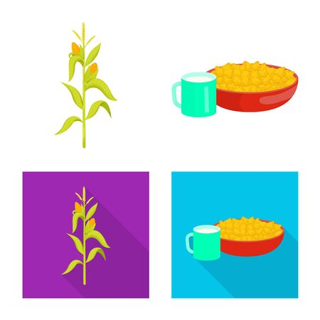 Isolated object of cornfield and vegetable sign. Collection of cornfield and vegetarian stock vector illustration. Çizim