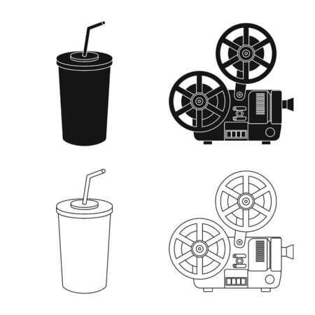 Vector design of television and filming symbol. Collection of television and viewing stock vector illustration.