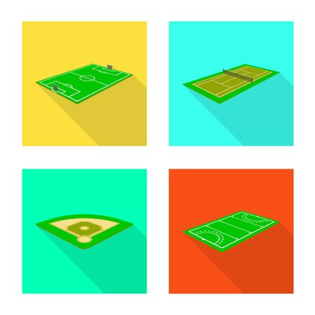 Vector design of playground and sport sign. Set of playground and scene vector icon for stock.