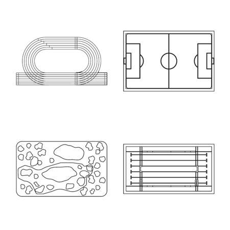 Vector illustration of plan and sport symbol. Collection of plan and game stock symbol for web. Foto de archivo - 130284679