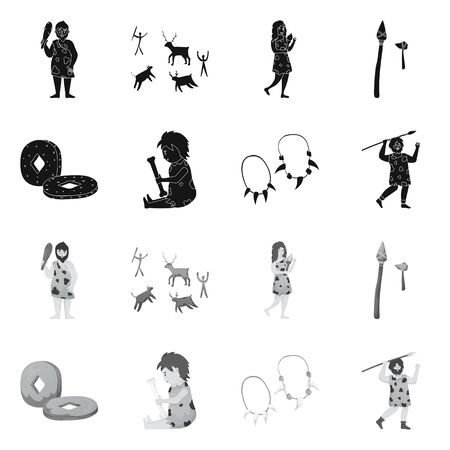 Vector illustration of evolution and neolithic sign. Collection of evolution and primeval stock symbol for web. Illustration