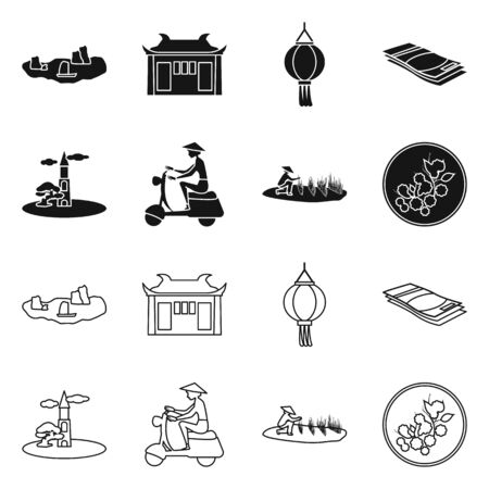 Vector illustration of vietnam and traditional icon. Set of vietnam and culture vector icon for stock.