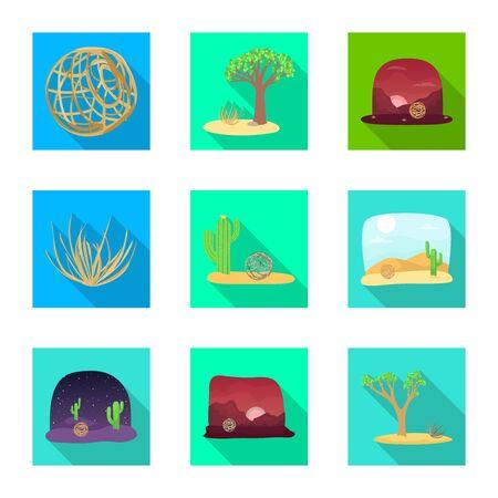 Vector illustration of landscape and nature icon. Set of landscape and environment stock vector illustration. Ilustração