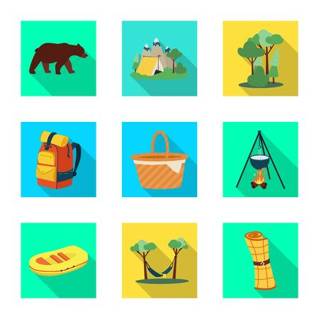 Vector illustration of trekking and wildlife sign. Set of trekking and leisure vector icon for stock.