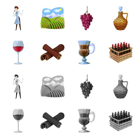 Isolated object of farm and vineyard sign. Collection of farm and product vector icon for stock.
