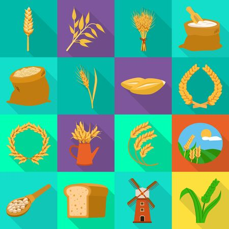 Isolated object of grain and harvest logo. Set of grain and agriculture stock symbol for web. Ilustração