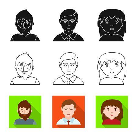 Conception vectorielle du logo de l'avatar et de la personne. Ensemble d'illustration vectorielle stock avatar et profession.