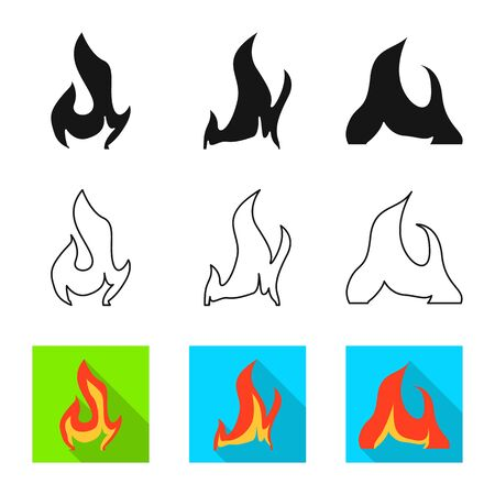 Isolated object of bright and dangerous logo. Collection of bright and wildfire vector icon for stock.
