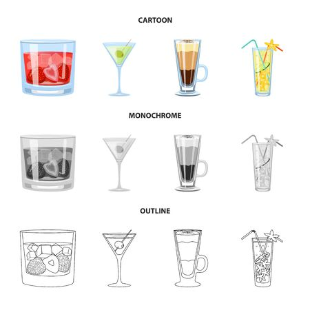Vector illustration of liquor and restaurant symbol. Collection of liquor and ingredient stock vector illustration. Ilustração