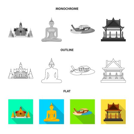 Vector illustration of journey and exotic icon. Collection of journey and national stock symbol for web.