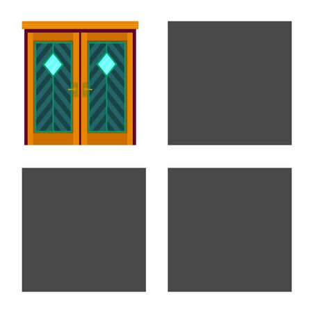 Vector illustration of door and apartment icon. Set of door and lock stock symbol for web.