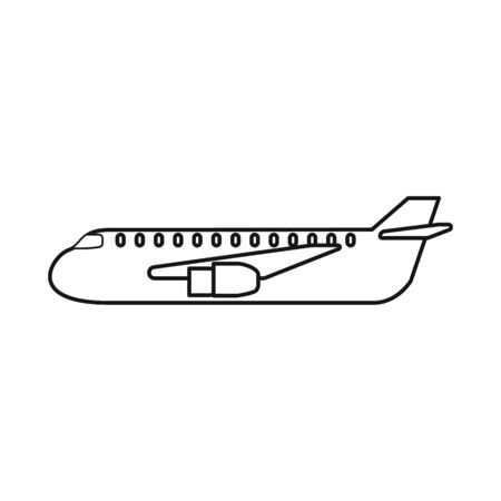 Vector illustration of plane and cargo symbol. Collection of plane and fly stock symbol for web.