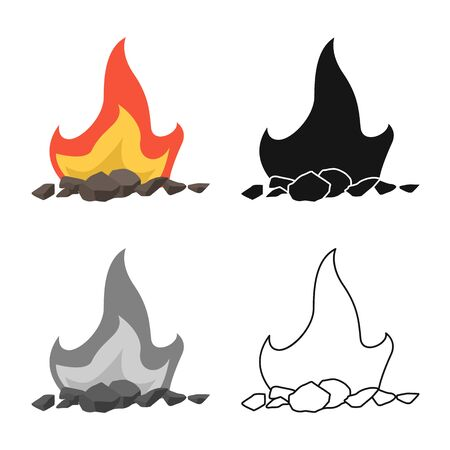 Isolated object of blaze and fiery icon. Set of blaze and firewood stock symbol for web.