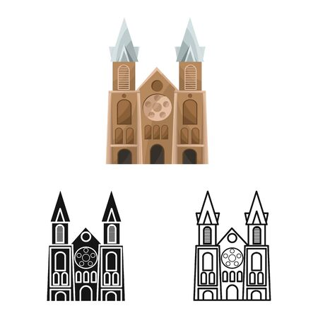 Isolated object of chapel and vietnamese sign. Set of chapel and cathedral vector icon for stock. Illustration