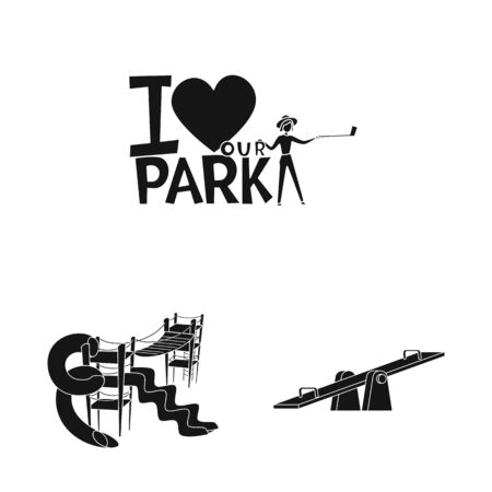 Vector design of public and relaxation symbol. Collection of public and park stock symbol for web.