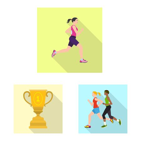 Isolated object of sport and winner symbol. Collection of sport and fitness stock vector illustration.  イラスト・ベクター素材